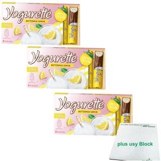 Yogurette Buttermilk Lemon Limited Edition 8 Riegel 3er Pack (3x100g Packung) + usy Block