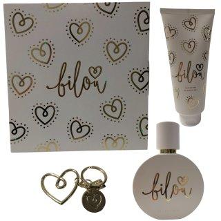 Bilou Gold Love Geschenkset (1x Eau de Parfum, 1x Duschgel, 1x Schlüsselanhänger)