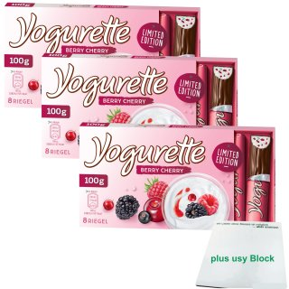 Yogurette Berry Cherry Limited Edition (3x100g Packung) plus usy Block