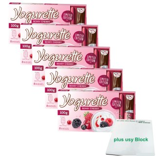 Yogurette Berry Cherry Limited Edition (5x100g Packung) plus usy Block