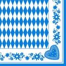 Papstar Servietten Oktoberfest Bayrisch Blau 1/4 Falz...
