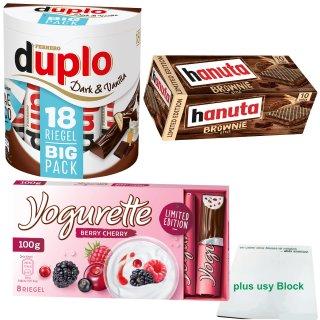 duplo dark&vanilla sundae (18er), hanuta Brownie (10er) und yogurette Berry Cherry (100g) + usy Block